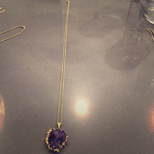 Jewelry - Amethyst quartz gold necklace